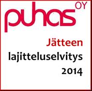 Jätteen lajitteluselvitys 2014